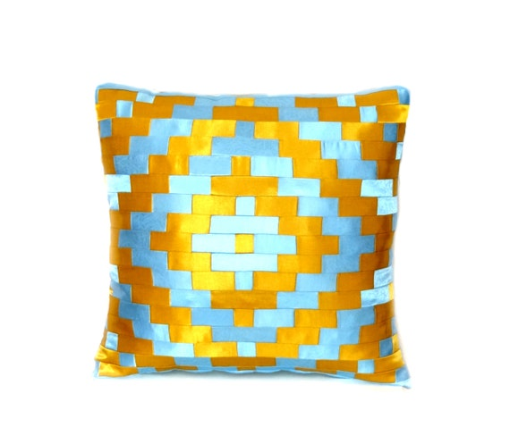 throw pillow cover patchwork pillow blue pillow case