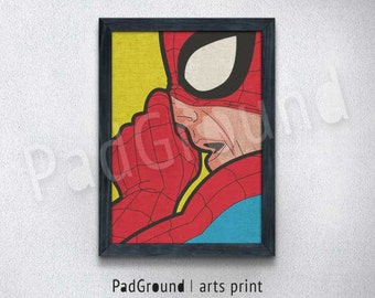 Spider-Man Print, Pop Art Decor, illustration Wall Art, Canvas Print, Personalized, Cloth Print , Natural Linen Print Art with Frame -POA26