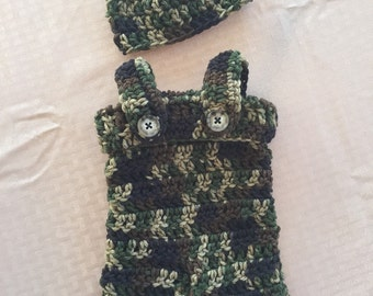 Camouflage crochet overalls photo prop