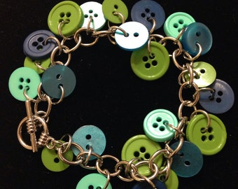 Cool colored button bracelet and earring set