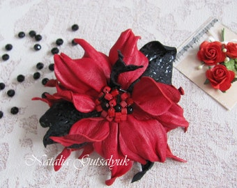 For Women  Red flower brooch Leather flower jewelry corsage brooch Gift for mom Stylish accessory Decoration costume Leather red flower pin
