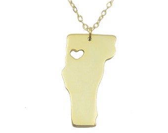 Gold Vermont Necklace, Personalized VT State Charm Necklace ,State Shaped Necklace,Vermont State Necklace Silver With A Heart