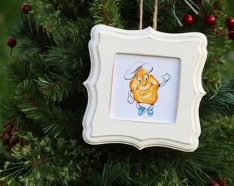 "Ornament ~ Iggy ""The Doughboy"", Rhode Island Photos, hand painted frame, RI Gifts, Christmas, Frames"