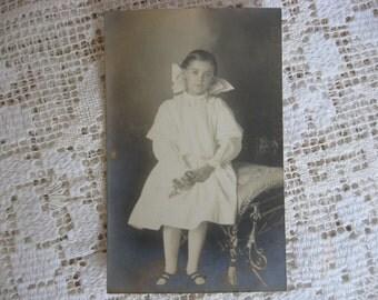 Antique Postcard, Photograph, Young Girl with Flowers, Black, Sepia,White, Antique Ephemera