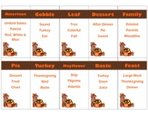 Printable Thanksgiving Game - Taboo Cards INSTANT DOWNLOAD