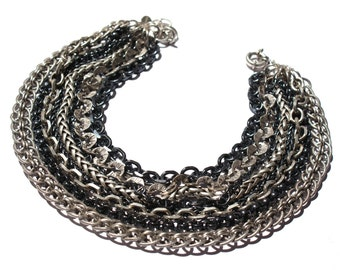silver and gun metal chain necklace