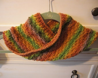 Brilliant Fall Striped Mobius Cowl - Wool and Silk