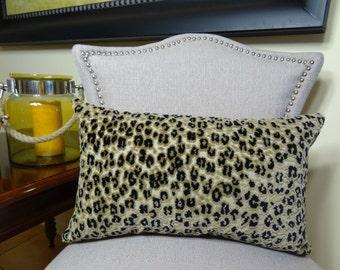 Cheetah Pillow Cover - Black Taupe Cream Velvet Cheetah Pillow Cover - Soft Velvet Cheetah Throw Pillow - Luxury Cheetah Pillow - 11020