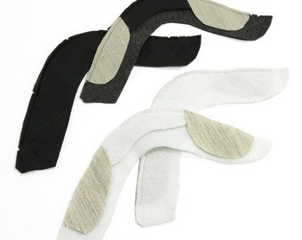 Three Pairs of Curved Sleeve Heads, Black or White