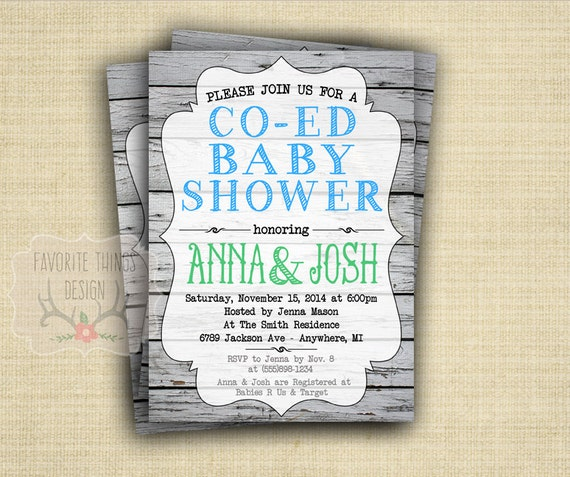 co ed baby shower invitation coed baby shower invite green