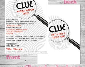 Clue Mystery Party Invitation -Boy or Girl - Custom - Printable