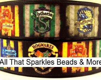 """1"""" Harry Potter Inspired 3 yards Grosgrain Ribbon Hogwarts houses"""