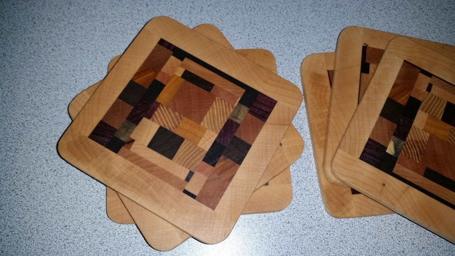 Recycled Wood Drink Coasters Set Of 6