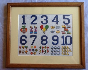 Handmade Cross Stitch Numbers Numerical Educational Nursery Picture 1980's