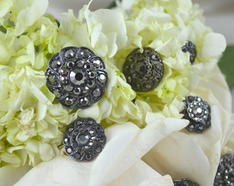 1 Piece Geneva's Classic Graphite Rhinestone Button Available in 4 Sizes High Quality. Durability Tested