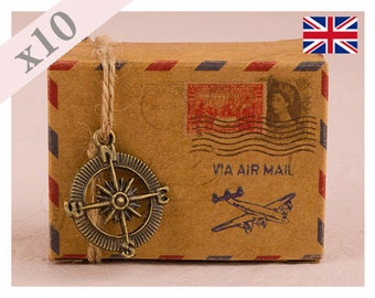 Vintage DIY Kraft Airmail Favour Favor Box - Pack of 10
