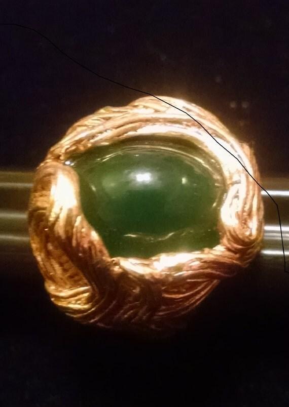 SALE !!Vintage 1960' Oversized  Faux Malachite Stone Ring  Size 6  SALE  was 24.50  now  14.50  SALE!!!!