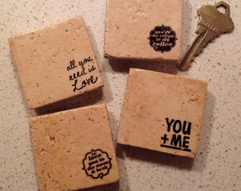 Set of 4 Magnets ~ Party Favors ~ Stone Magnets ~ Stamped Magnets ~ Wedding Favors ~ Wedding Gift