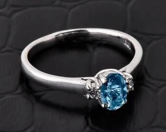 Aquamarine ring, aquamarine engagement ring, diamond aquamarine engagement ring, Aquamarine March birthstone ring, gold aquamarine ring