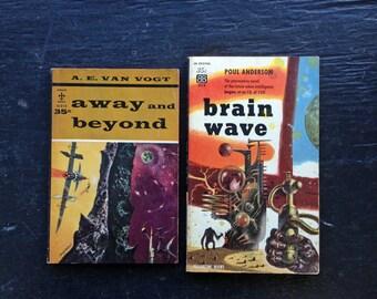 Original 1950s SCI FI PAPERBACKS! Two vintage pulp books - Away and Beyond & Brain Wave. Sci-fi Classics!