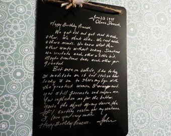 Engraved Handwritten Note From Johnny Cash to June Carter - Wall Decoration - Johnny's Note, Christmas gift