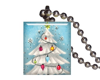 Vintage Christmas Tree Snow Holidays - Reclaimed Scrabble Tile Pendant Necklace