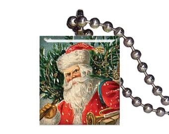 Vintage Christmas Santa Deliver Gifts - Reclaimed Scrabble Tile Pendant Necklace