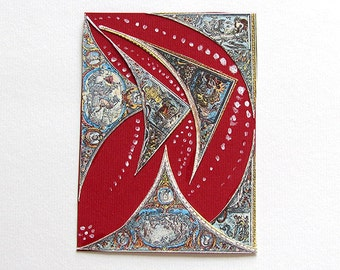 Limited Edition OOAK ATC Card  - Abstract Fish Limited Edition