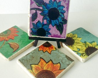 Sunflowers Coasters - Colorful Flowers - Natural Stone Tile - Great Housewarming Gift - Spring Flowers - Hostess Gift - Set of 4