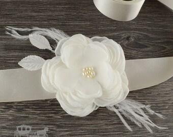 Ivory Chiffon Freshwater Pearl Feather Flower Sash Bridal Belt