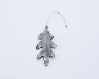 Hand-forged, Wrought Iron Oak Leaf Ornament