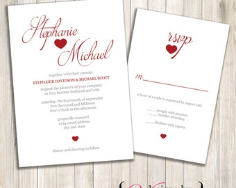 2 Hearts Wedding Invite Set - Digital File