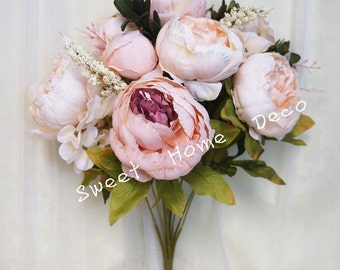 JennysFlowerShop 18'' Super Soft Blooming Peony Silk Artificial Wedding Bouquet Home Flowers Light Pink