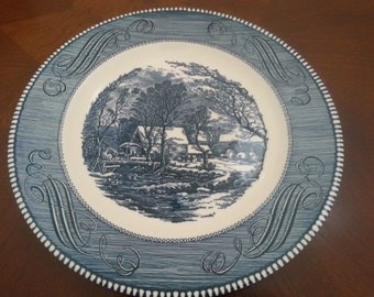 Vintage, Currier and Ives, The Old Grist Mill, by Royal, Dinner Plate, Excellent Condition