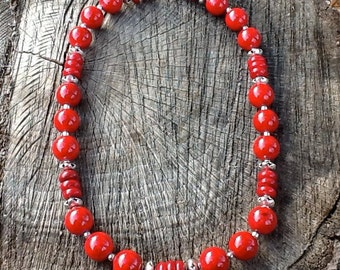 "Red Coral and Sterling Silver Statement  20"" Necklace"
