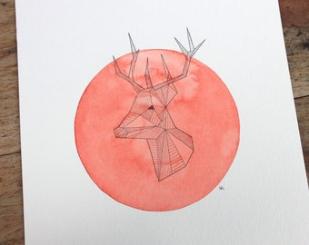 Oh deer, deer, roe deer, 24 x 32 cm, watercolour and ink, original!