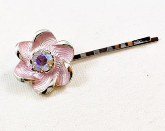 Pink flower hair pin, pink daisy rhinestone hair pin, pink rhinestone bobby pin, pink flower bobby pin flower hair clip pink daisy bobby pin