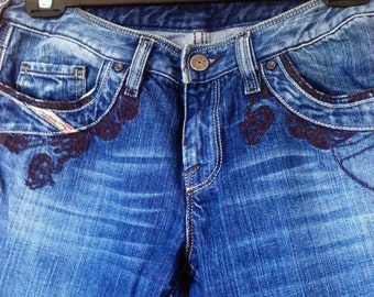 Embroidered patterned indigo Diesel jeans waist 29 length 30.
