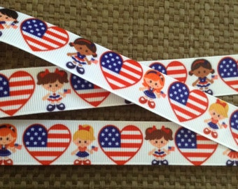 Patriotic Ribbon, Red white and blue ribbon, Memorial Day Ribbon, 4th of July, Heart Ribbon