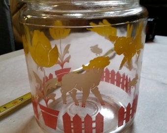 Hocking Glass Jar/Canister - Chicks, Ducks and Lambs