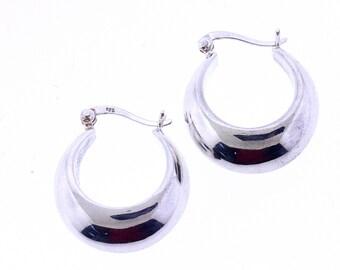 Sterling Silver 925 Hollow Tapered Hoop Earrings