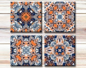 Set of 4 Printable Images - paper crafts, coasters, greeting cards, gift tags, pendants, Orange Blue White Traditional Images, Auburn Tigers