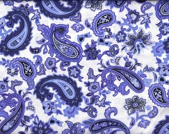 Blue and White Paisley Curtain Valance