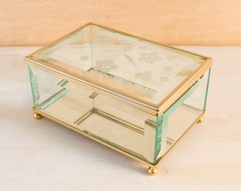 Brass & Glass Clear Frosted Beveled Box with Mirrored Bottom | Geometric Etching | Glass and Brass Trinket Box | Glass and Brass Jewelry Box