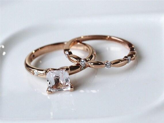 two ring set 1 35ct princess cut vs morganite ring 14k