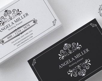 Retro business card design, premade business card template vintage business cards design printable business card template ornamental card