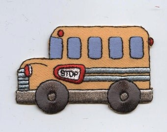 Childrens Yellow School Bus Iron on Applique 156581A