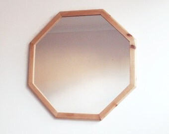 "Wall Mirror - Geometric Octagonal Wooden Mirror - Handmade Reclaimed Wood Frame - 19"" Decorative Wall Mirror"