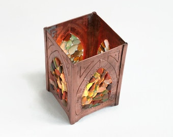 Copper candle holder - Sea glass suncatcher - Sea glass candle holder  - Rustic decor - Candle holder - Sun catcher