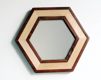 "Wall Mirror, 9"" Wooden Mirror, Hexagonal Mirror, Geometric Mirror, Handmade Reclaimed Wood Frame, Decorative Wall Mirror, Mahogany Mirror"